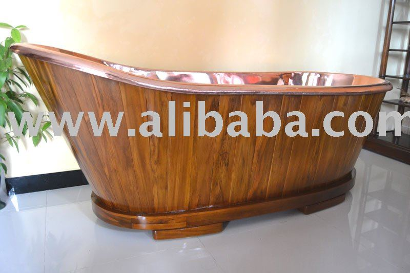 Bath Tub Copper combine teak wood