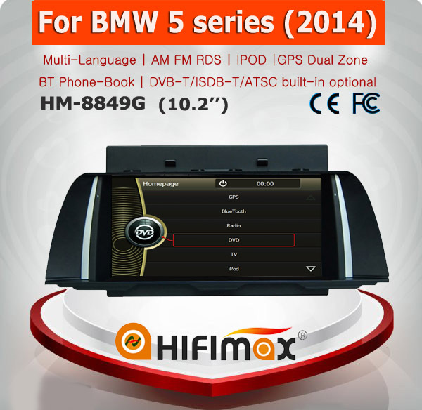 HIFIMAX 10.2 inch Car GPS Navigation for BMW 5 series 2014 DVD Player MP4 player with SRS Premium Sound