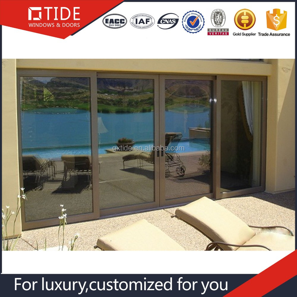 New Fashion Aluminum Residential Exterior Sliding Door With Double Glazed