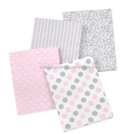 4 Piece 100% Cotton Flannel Receiving Baby Blankets--Pink Cheetah/Pink/Grey/White