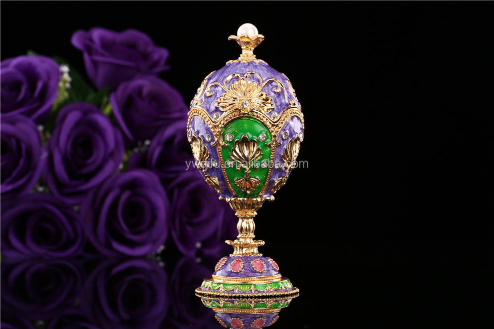 New Product Faberge egg metal rhinestone crystal gift box Trinket Box (QF3853)