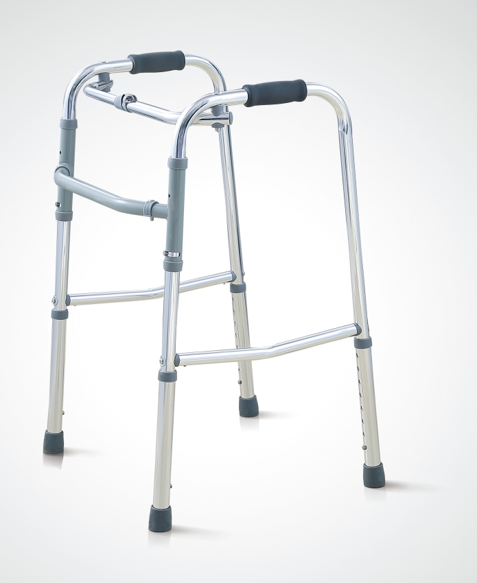 High strength aluminum one button folding zimmer walker walking frame for old and disabled