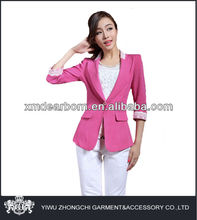 three-quarter sleeve women linen pants suit