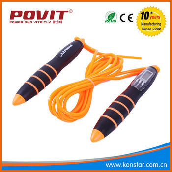 Wholesale anti slip adjustable led skipping jump rope with calorie