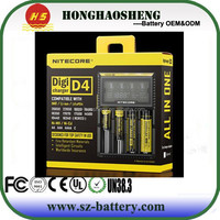 Lcd dispaly usb powered universal smart portable Li-ion 18650 battery charger 5V 2.1A VC4 with 4 slots