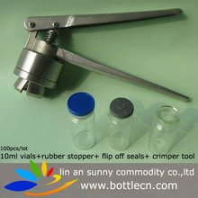 vials amber of 10ml and 20ml,rubber bung, tops, crimpers of 20mm