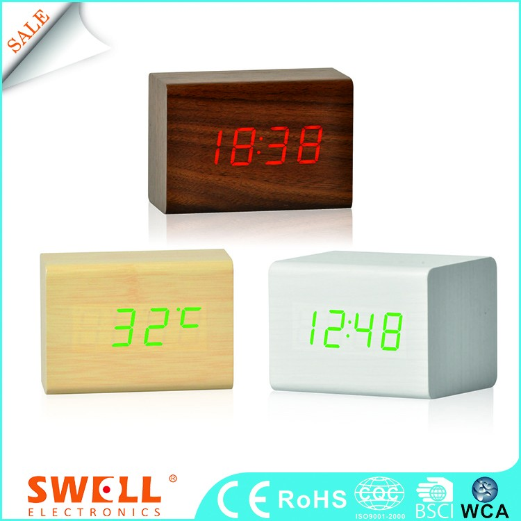 modern laser cut small wood clock , sound controlled woodworking clock
