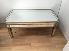 New Vintage Mirrored Coffee Table Antiqued Silver Wood Edging