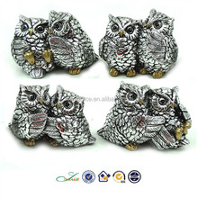 Plated owl lover couple decoration silver polyresin figurines