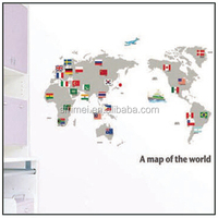 Hot Sale Wall Stickers Decorative Window Film A Map Of The World Design Decorative Window Film Stickers Free Shipping KC-2100