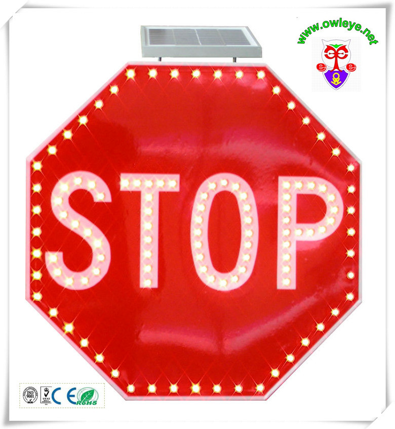 Solar Traffic Stop Sign Led Stop Signal Sign Traffic Stop