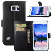 New arrival cell phone flip leather case with card slot and stand cover for samsung s6 active wholesale
