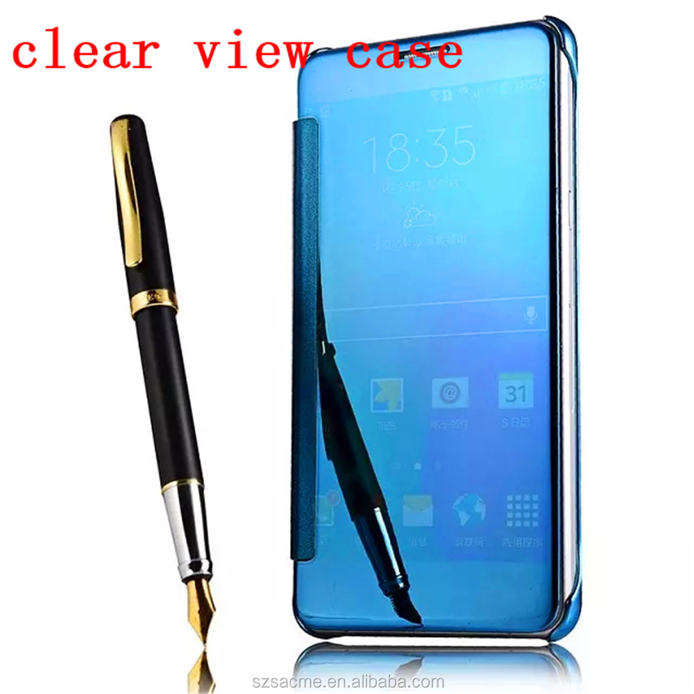 For Samsung Galaxy S8 Mirror Smart Clear View Clear Flip Leather Cell Phone Case