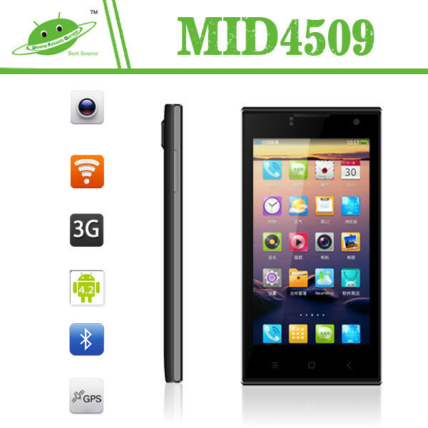 New model 4.5 inch MTK6582M quad core Android 4.4 dual camera android mobile phone digital tv