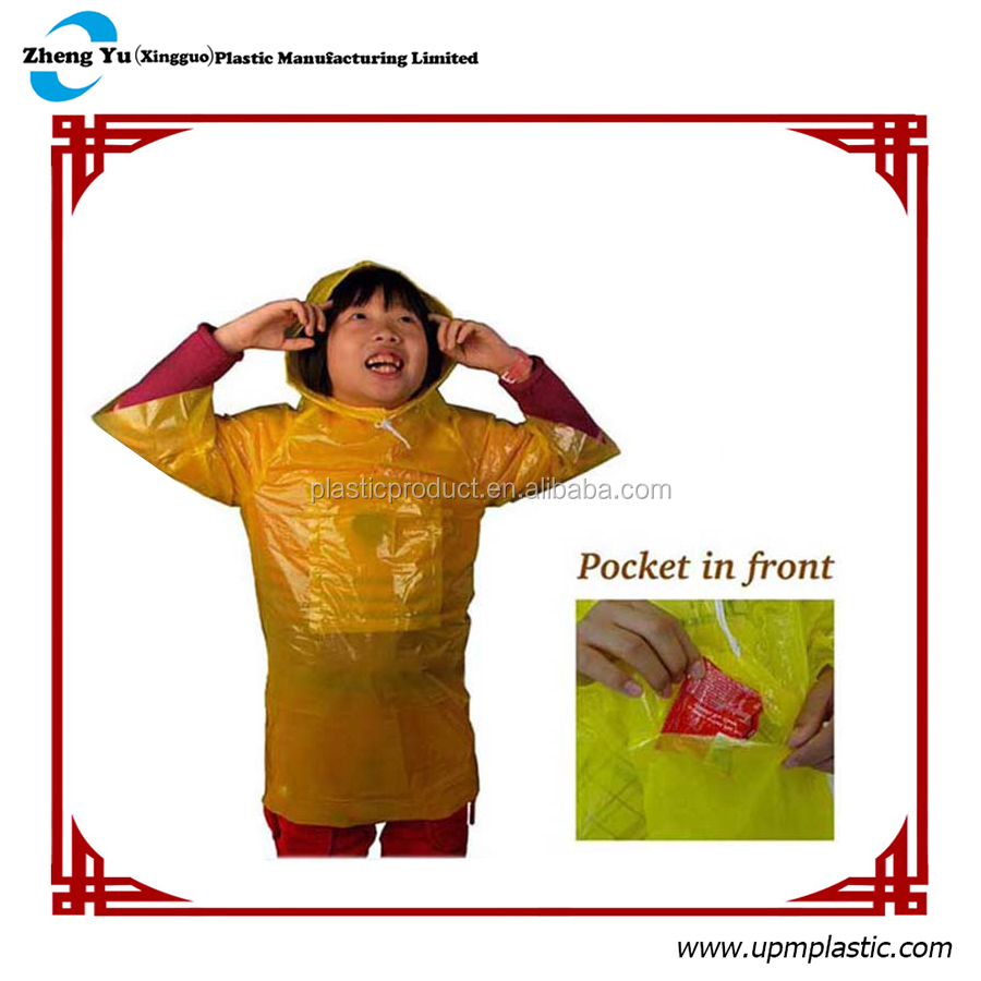 Kid Disposable Plastic Rain Poncho