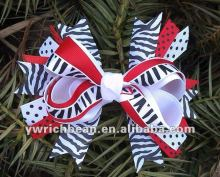 New styles design for 2013 red and zebra printed popular hair accessories for girls ribbon material bows