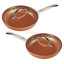 copper nonstick ceramic coating wok with stainless handle