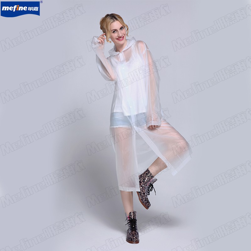 Chinese factory PVC Long raincoat with hooded,Five color for choice