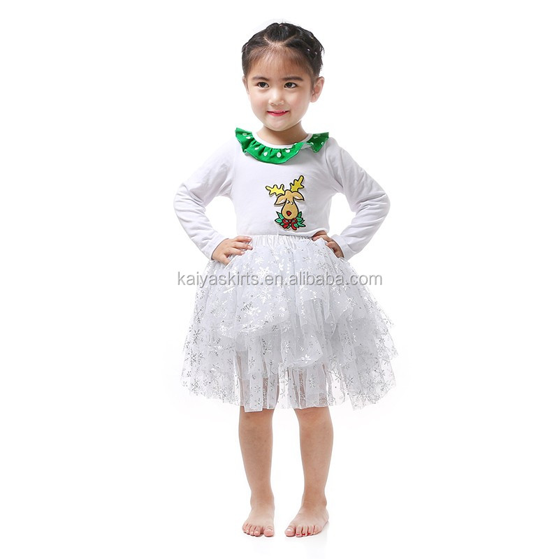 cute princess christmas white longsleeve cotton top chiffon tutu dress sets little girls dress suits