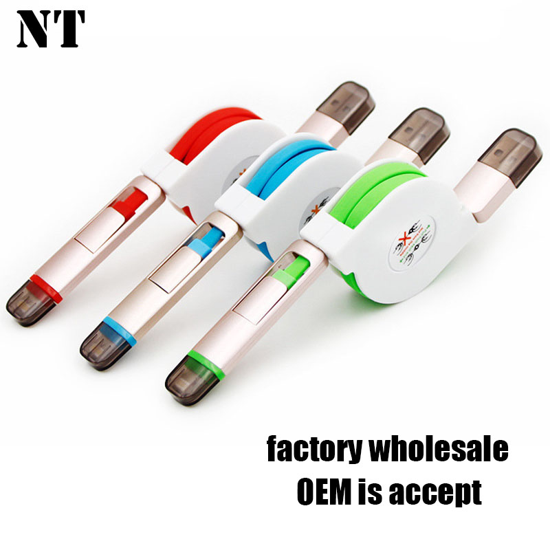 alibaba china shenzhen mobile phone accessory 2 IN 1 USB2.0 data cable for iphone and android phones