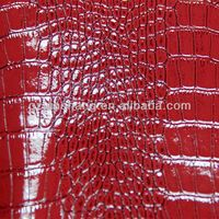 Hot sell PVC leather fabric with crocodile embossed ,shining surface with two tones color,popular used for ladies handbags