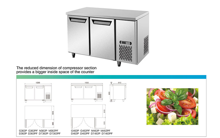 Portable stainless steel worktable refrigerator freezer bar counter