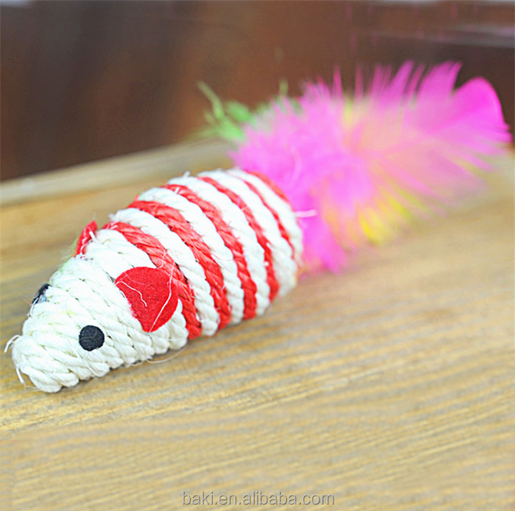 Cat Toy Sisal Scratch Board With Colorful Feather Sisal Mouse Cat Toy