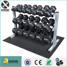Exercise Fixed Rubber Coated Hex Dumbbells