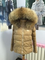 New style colorful hooded down coat with big size fur trim