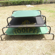 Foldable Strong Metal Frame Dog Bed Green Color Three Layers Marketing Price
