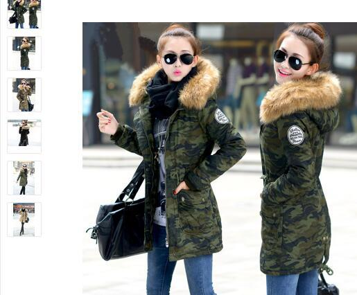 2016 winter jacket women casual camouflage hooded mediu long parkas fashion ladies slim faux wool liner plus size coats overcoat