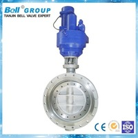 Ductile Iron Three Eccentric double flange Butterfly Valve