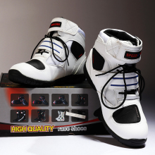 BH-128Bt-3 White Custom Short Motorcycle Racing Shoes Wholesale Motor Bike Racing Boots