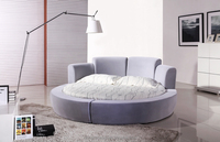 High-end king size Italian white/black genuine leather round bed
