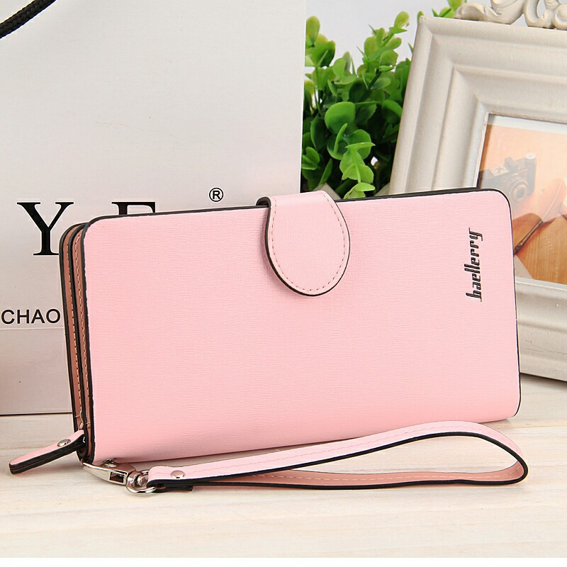 New fashion multi-color tri-fold European and American multi - function PU leather buckle ladies long wallet