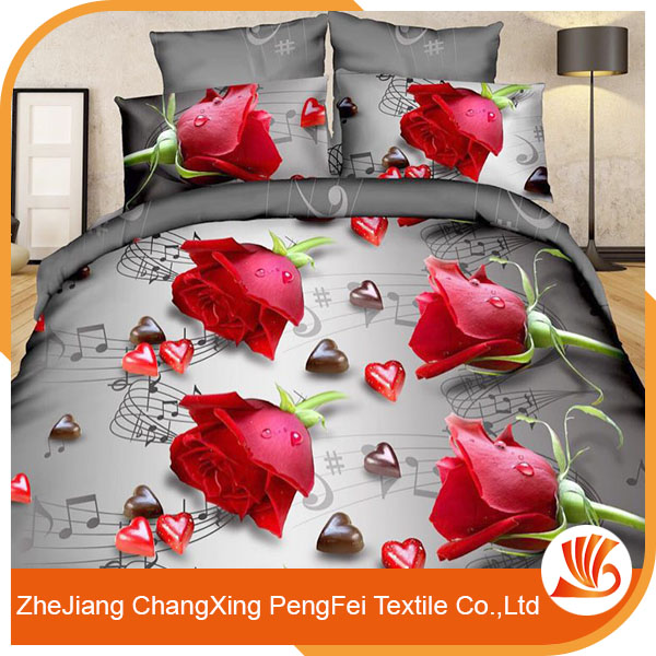 Microfiber flower border print 3d bed sheet fabric for sale