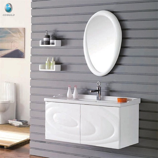 K-1044 white painting teak wood american style modern bathroom furniture mirrored jewelry cabinet