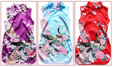 Hot sale fashion National Children Cheongsam Flowers printing dress