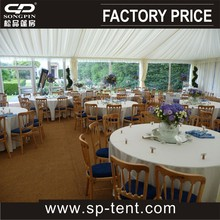 air conditioned wedding marquee tent with luxury linings and clear sidecovers for wedding party events