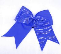 Zebra Strips Rhinestone Cheer Bows Cheerleading Dance Hair Bows