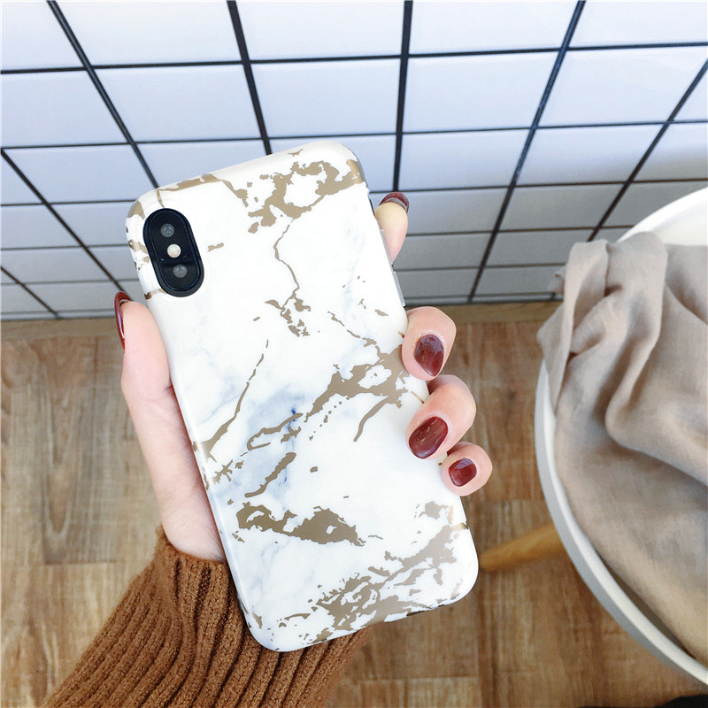 Laser Luxury TPU Rose Gold Plated Stone White Chrome Marble Mobile Phone Case Cover for iPhone 5 / 6s / 7 / 8 / X