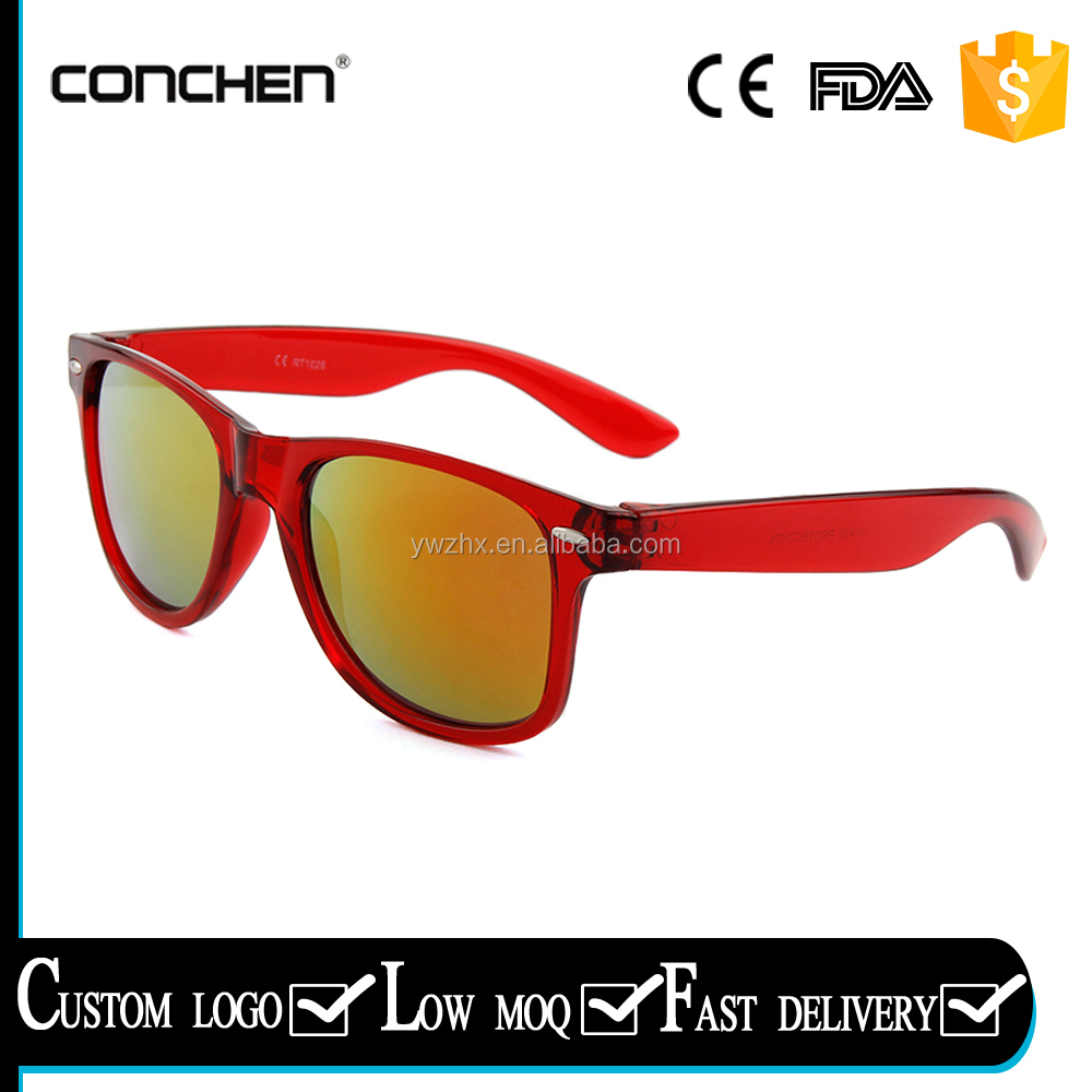wholesale latest custom printed women red mirror one dollar sunglasses plastic