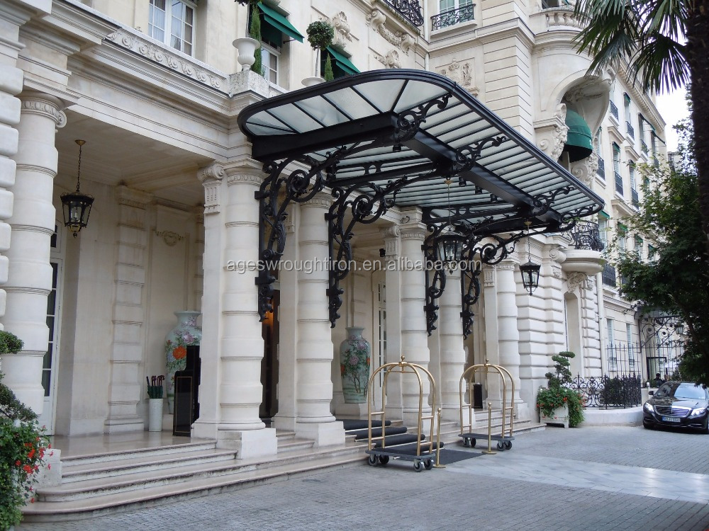 made in china Old world classic Custom design grill desgn Wrought iron awning iron canopy