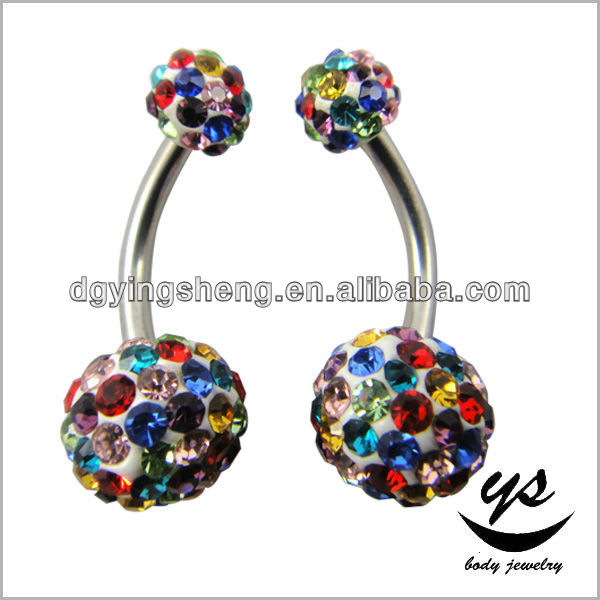 Shamballa Zircon Rhinestone Diamond 316l Stainless Navel Belly Button Rings Body Piercing Jewelry