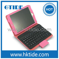 Gtide KB554 wholesale pink color leather case mini bluetooth keyboard for ipad mini