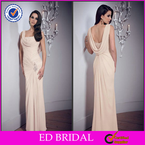 Hot Sale Sheath Rhinestone Pleat Chiffon Sex Mother Of The Bride Dress(ED-M005)