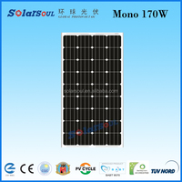 Hot sale high efficiency 170w monocrystalline solar panel price per watt manufactures in china with certificate TUV ISO CE LVD