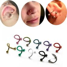 Women's jewelry stainless steel PVD anodized spiral nose stud with balls