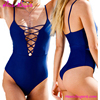 High Waist Blue Hollow Out Sexy Straps Ladies Mature Swimsuit