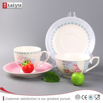 Personal design eco-friendly printing ceramic cup with saucer